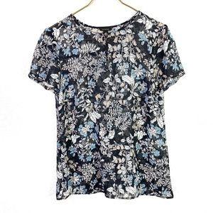 Ann Taylor Sheer Floral Blouse